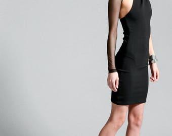 Black Party Dress / One Shoulder Dress / Unique Dress / Stylish Dress / Black Dress / Mesh Sleeve Dress / Marcellamoda - MD0002