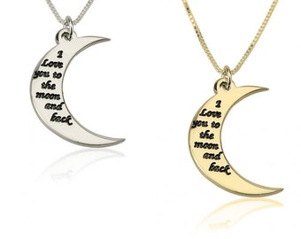 To the Moon and Back Necklace, Moon Necklace, Sterling Silver, Gold Plated or Rose Gold Plated, I Love You Necklace, Mothers Day Gift