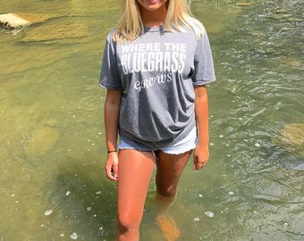 The Bluegrass Tee! Offered in gray(S-XL)  and Blue(M-L) ** a only XL available at this time. Will be adding more sizes soon!*