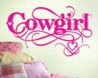 Cowgirl Wall Decal - Cowgirl Decor - Girls Room Vinyl Decal - Baby Girls Nursery Decal - Horse Lovers Western Baby Nursery