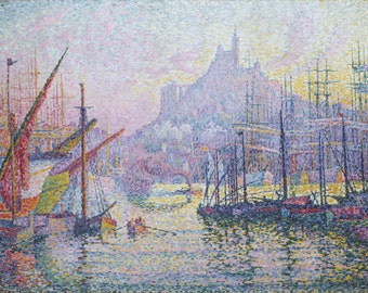 View of The Port of Marseilles by Paul Signac, in various sizes, Giclee Canvas Print