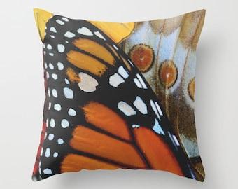 Velveteen Pillow - Monarch Butterfly Pillow - Rustic - Boho Pillows - Nature Decor - Monarch Butterfly - Butterfly Cushion - Cottage Pillows