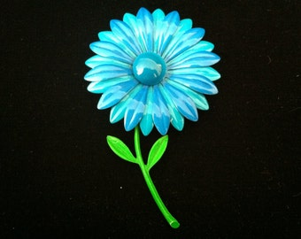 Amazing Vintage Blue and Turquoise Enamel Flower Brooch
