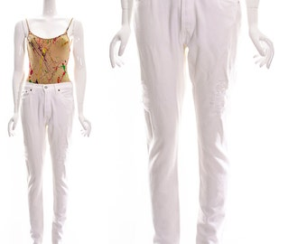 Vintage White Denim Skinny Pants High Waist Levis Reclaimed Skinny Jeans size 27 waist