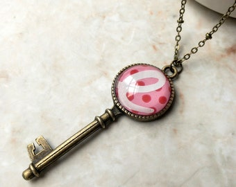 Starbucks Pendant / Long Key Necklace / Pink Necklace / Upcycled Jewelry / Letter E Necklace / Recycled Gift Card Jewelry