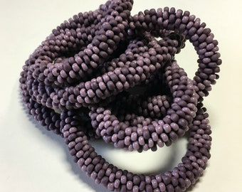 Perfectly Plum . Bead Crochet Necklace Matte Opaque Purple Chunky Beaded Rope Fashion Accessory Handmade Jewelry Monochromatic Woman Gift