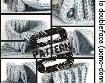 Pattern in PDF Crocheted Reversible Neckwarmer (men-woman-children sizes) it-en language