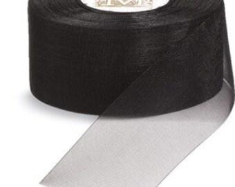 3/4 inch wide piece of Midori Organdy Ribbon color Black