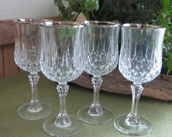 Longchamps Platinum Wine Glasses by Cristal D'Arques-Durand Set of Four (4) Vintage Drink and Barware