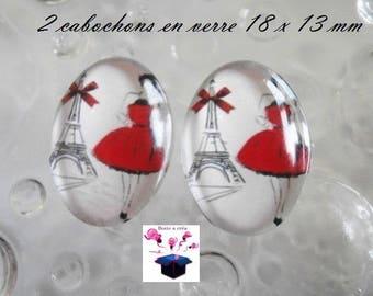 2 cabochons glass 18mm x 13mm Parisian theme