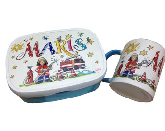 Set fire brigade-lunchbox with name and Fire Brigade Cup