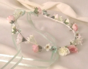 Rustic Chic pink mint green Flower crown flower girl halo Bridal party hair wreath Rustic Chic wedding accessories Woodland circlet garland