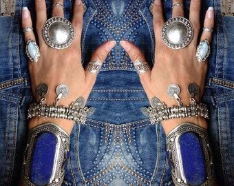 Babylon boho silver bracelet / / / Bohemian gypsy ethnic bracelet