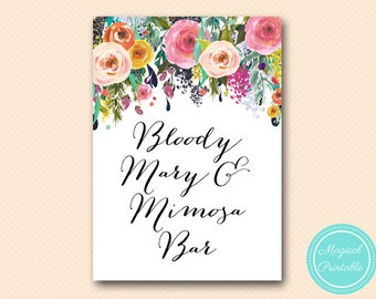 Bloody mary and mimosa bar sign, sign, Bridal, Wedding Signage, Wedding Sign Printable, Romantic Floral Bridal Shower BS138 SN34 TLC140
