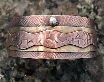 Brass Cuff, Copper Cuff, Mixed Metals, Handmade,Hammered, Cuff, Metalsmith, Artisan Jewelry, sterling silver