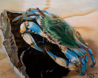 Chesapeake Bay Blue Crab Art Print ~ Giclee Reproduction of Original Pastel Artwork ~ FREE SHIPPING