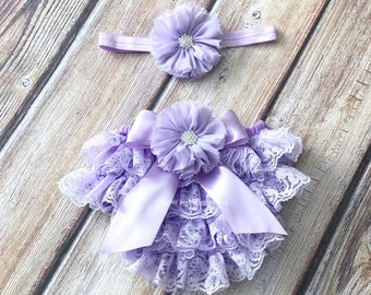Baby girl clothes, lavender lace bloomer, baby girl headband, infant girl diaper cover, newborn girl bloomers, first birthday, easter outfit