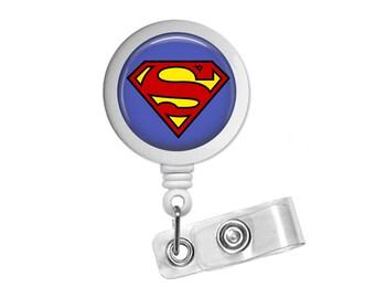 Superman Logo Symbol DC Photo Glass / Bottle Cap Retractable ID Badge Reel