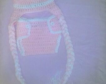 Crochet light pink football diaper set, newborn photography prop, crochet football hat, girl football hat, diaper cover, crochet hat, baby
