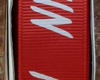 "2 Yards 7/8"" Red with White ""RUN"" Print Grosgrain Ribbon - Marathon - Track - School - US Designer"