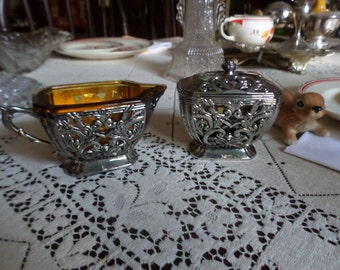 Gorgeous Gorham Silverplate and Amber Glass Sugar Bowl & Creamer-Ornate Metal