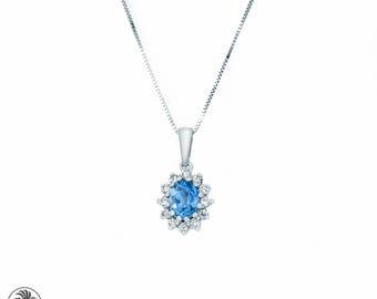 NEC01778 Tanzanite Pendant, Tanzanite and Diamond Pendant,Shaped Tanzanite Pendant, Violet Stone Pendant ,Tanzanite With Diamonds | NEC01778