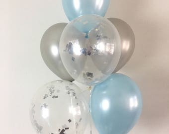 Silver Light Blue and Silver Confetti Latex Balloons Light Blue and Silver Party Winter Onederland Baby Shower Little Man Party First Bday