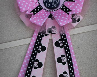 Mommy To Be Corsage, Ribbon Corsage, Mommy To Be Pin, Baby Shower Pin, Baby  Girl Shower Pin, Baby Girl Minnie Mouse, Mommy Corsage Capia Mum