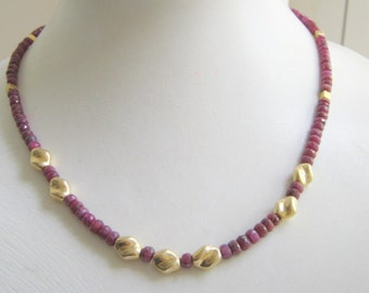 Red Ruby necklace faceted gemstone beads choker with gold plated spacer elements