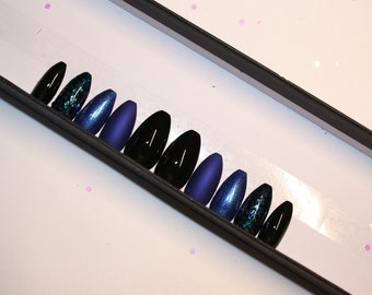 Cobalt blue and black matte and sparkle press on nails