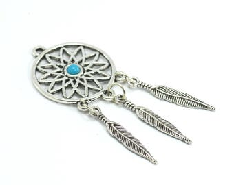 2 pendants dream / Dream Catcher in metal - height: 64 mm - antiqued silver color
