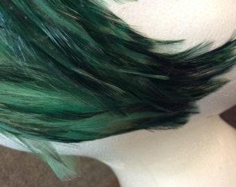 Elegant Blue Green Feathered Half-Hat