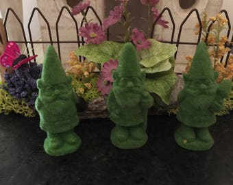 Miniature Green Flocked Gnome Statues, Green Gnome Garden Statues, Gnome Garden Statues, Fairy Garden Gnome Statues