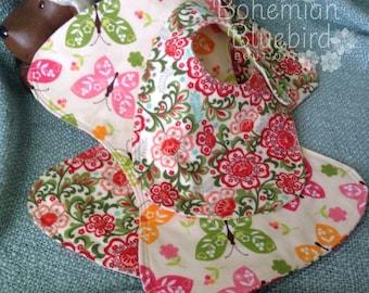 FREE SHIPPING-TWO Burp Cloths One Bib-Butterfly-Bohemian- Shower Gift Set-Bonus item