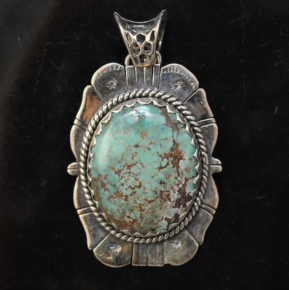 Sterling Silver Tibetan Turquoise Pendant Native American Style #9879