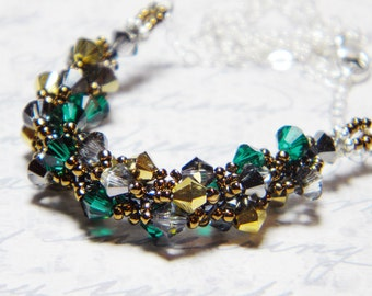 "Once Upon a Time inspired Emerald and Gold Swarovski Crystal Necklace Crystal Silver Night -  ""Dearie"""