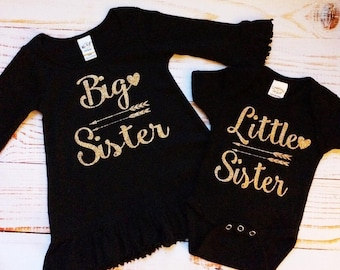 Big Sister and Little Sister Matching Outfits, Black/Gold dress bodysuit