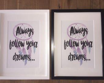 Always follow your dreams dream catcher print baby girl baby boy gift