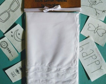 Hankie 6 pack white, scalloped cotton Handkerchiefs with Patterns Embroidery Kit