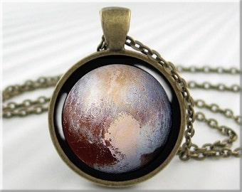 Pluto Pendant Necklace, Resin Charm, Planet Pluto Jewelry, Space Gift, Planet Pendant, Gift Under 20, Round Bronze Pendant 701RB