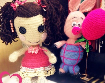 Doll crochet and pig ball, hand made