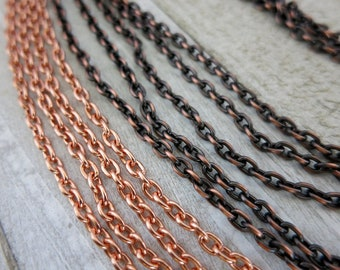 NEW! Copper SMALL CABLE Chain, 4.08x2.86mm links, Bulk Chain - No Clasp, Choose Bright or Hand Oxidized and length
