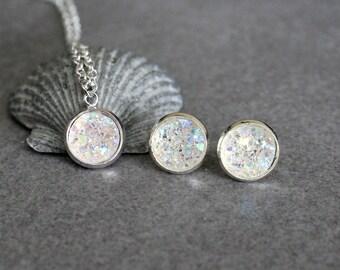 Crystal Necklace Set, Silver Druzy Earrings, Clear Druzy Earring Set, Crystal Stud Earrings, Crystal Post Earrings, Crystal Earring Set