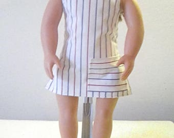"""18"""" Doll Clothes- APRON, Red, White, Blue Stripe, Pocket, Cooking, Barbeque,  READY to ship, FREE Ship in USa"""