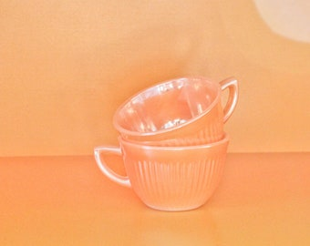 Pair of Vintage Fire King Peach Luster Lustre Child's Tea Cup-Ribbed NOT Swirled or Laurel Leaf