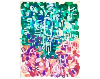 Midcentury Modern Colorful Abstract Large Acrylic Painting Shapes Patterns Pink Purple Turquoise Canvas Wall Art Yayoi Kusama Playful Art