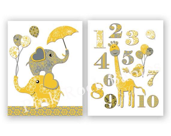 Neutral nursery wall decor elephant poster nursery giraffe