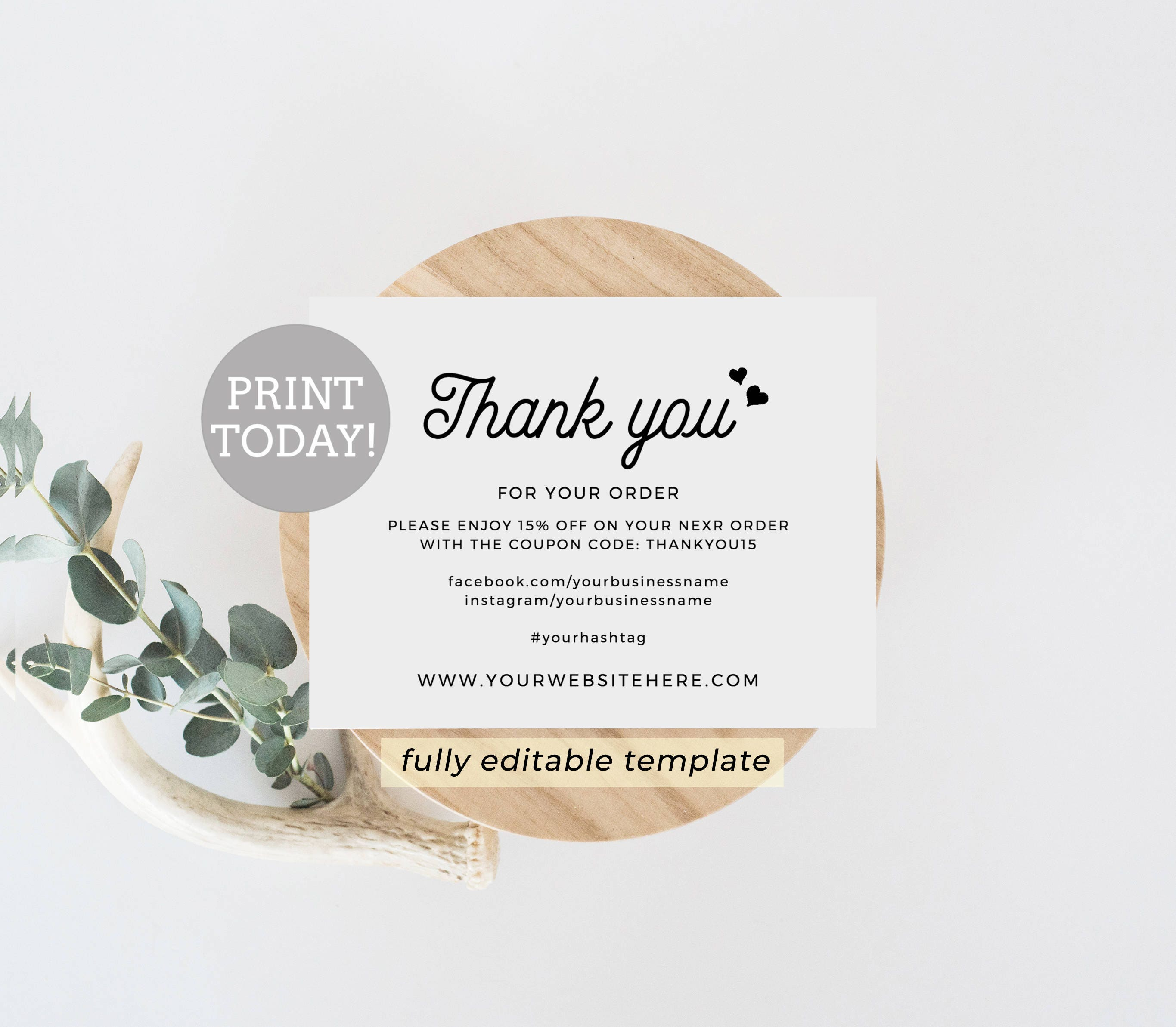 Business Thank You Card Editable Template Etsy Seller Thank