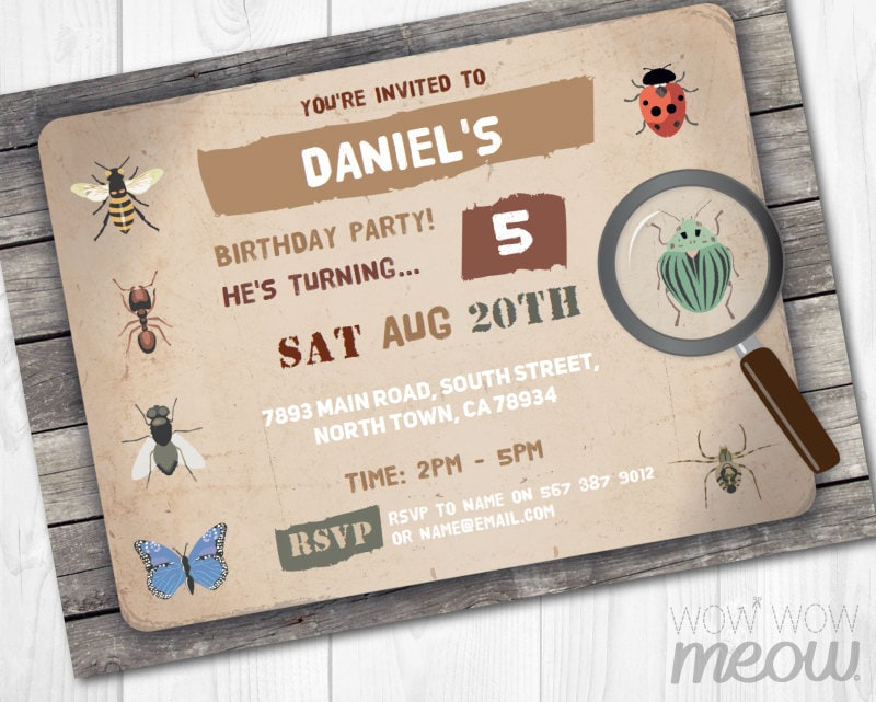 Bug Invitations Insect Catcher Invite Birthday Party Garden