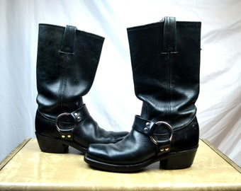 Vintage Frye Harness Leather Buckle Boots - Size 6